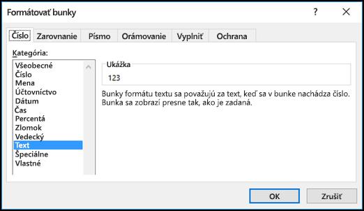 Dialógové okno Formát buniek zobrazujúce kartu Číslo so zvolenou možnosťou Text