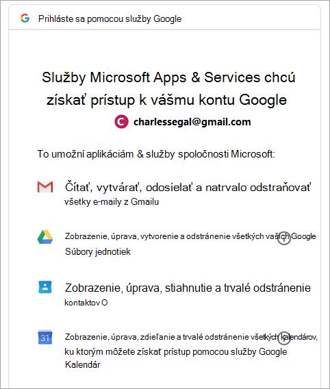 žiadosť o povolenie Google