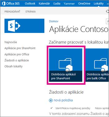 Dlaždica Distribúcia aplikácií pre SharePoint na lokalite katalógu aplikácií