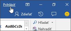 Snímka obrazovky zobrazujúca prepojenie na prihlásenie v počítačovej aplikácii balíka Office