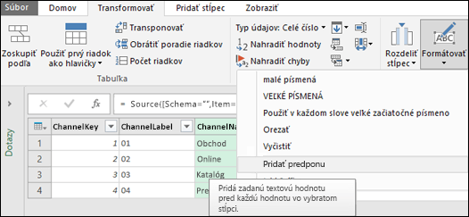 Power Query – pridanie predpony/prípony k textovému stĺpcu