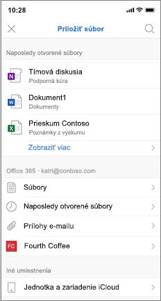 Obrazovka mobilnej obrazovky so zoznamom naposledy otvorených a iCloud súborov