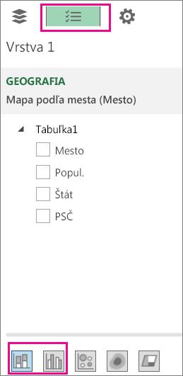 Ikony skladaného a skupinového stĺpcového grafu na karte Zoznam polí