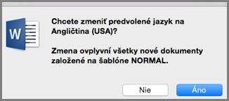 Predvolený jazyk vOffice pre Mac