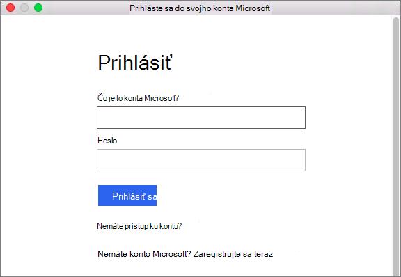Zadajte poverenia konta Microsoft na prístup k službám priradených k vášmu kontu.