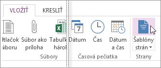 Zobrazenie dostupných šablón vo OneNote.