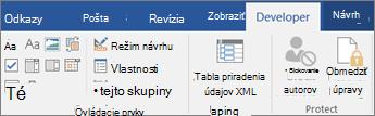 Na karte Vývojár kliknite v skupine Ovládacie prvky kliknite na položku Vlastnosti