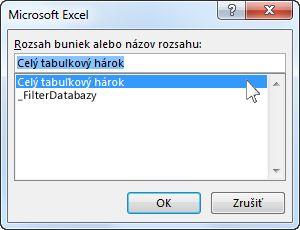Dialógové okno Microsoft Excelu vo Worde