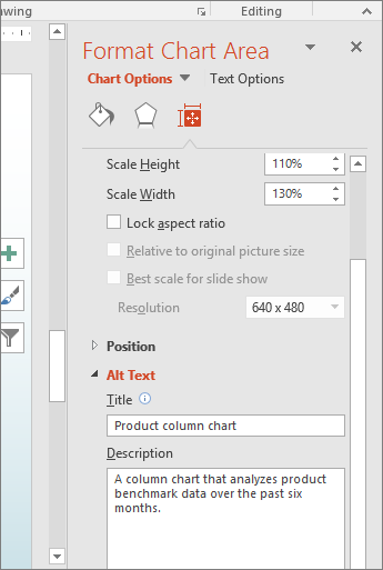 Snímka obrazovky stablou Formátovať oblasť grafu apoľami popisujúcimi vybratý graf včasti Alternatívny text