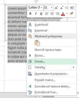 V ponuke, ktorá sa zobrazí po kliknutí pravým tlačidlom myši, kliknite na položku Odsek.