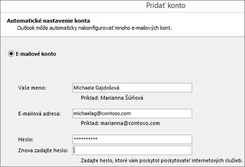 Snímka obrazovky spridávaním e-mailového konta do Outlooku