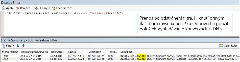 Sledovanie filtrované podľa funkcie Vyhľadávanie konverzácií, potom podľa DNS.