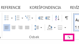 Dialógové okno Odsek môžete otvoriť kliknutím na ikonu rozbalenia