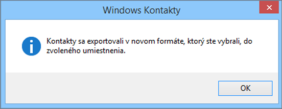 Zobrazí sa finálna správa sinformáciou, že kontakty sa exportovali do súboru .csv.