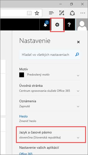 Snímka obrazovky: Panel Nastavenia zobrazujúci ikonu nastavení a nastavenia jazyka