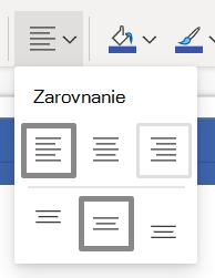 Tlačidlo Zarovnať text na páse s nástrojmi Visia Online