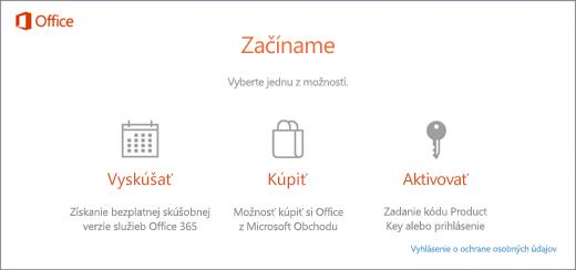 Snímka obrazovky s predvolenými možnosťami na vyskúšanie, kúpu alebo aktiváciu pre počítač, v ktorom bol predinštalovaný Office.