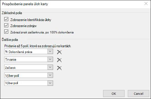 Prispôsobenie konfigurácie nastavení karty