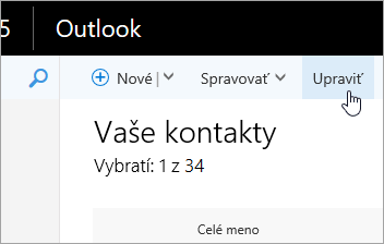 Snímka obrazovky s tlačidlom Upraviť pod navigačným panelom Outlooku.