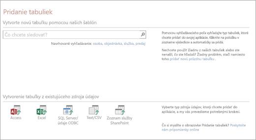 Pridanie tabuliek do webovej aplikácie Accessu
