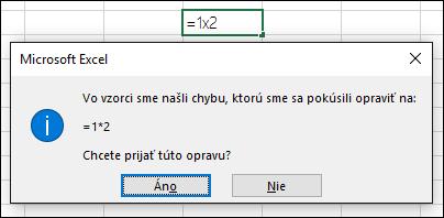Okno svýzvou na nahradenie znaku x symbolom násobenia *