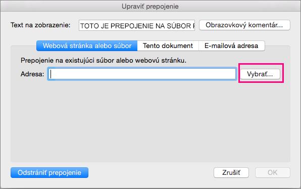Zobrazuje sa dialógové okno Vložiť hypertextové prepojenie vPowerPointe 2016 pre Mac