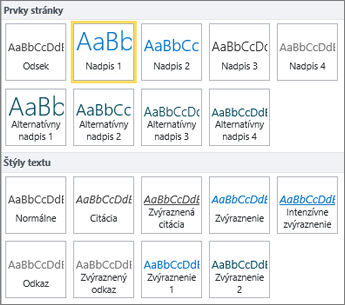 Snímka obrazovky spoložkami Prvky stránky aŠtýly textu dostupnými vskupine Štýly na páse snástrojmi vSharePointe Online.