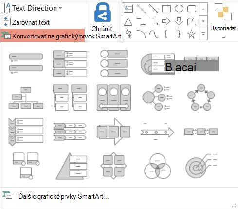Zobrazia sa možnosti v okne konvertovať do galérie grafické prvky SmartArt