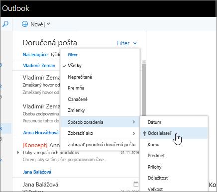 Snímka obrazovky doručenej pošty a vybratými položkami Filter > Zoradiť podľa > Od