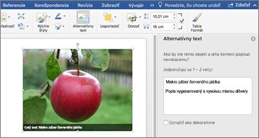 Wordový dokument s obrázkom a tablou s alternatívnym textom na pravej strane