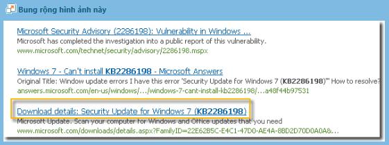 Centrum sťahovania softvéru automaticky vyhľadá všetok obsah súvisiaci s poskytnutým číslom aktualizácie. V závislosti od operačného systému vyberte položku Aktualizácia zabezpečenia pre Windows 7.