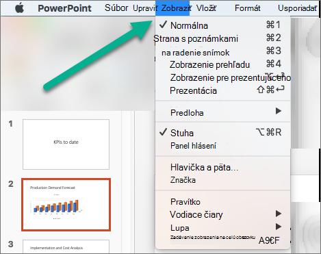 Ponuka Zobraziť v PowerPointe