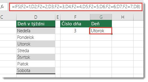 Funkcia IFS – príklad dňov v týždni – vzorec v bunke G2 je =IFS(F2=1,D2,F2=2,D3,F2=3,D4,F2=4,D5,F2=5,D6,F2=6,D7,F2=7,D8)