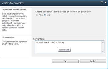 Okno hlásenia, ktoré sa zobrazí pri vrátení súboru do projektu