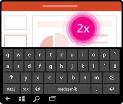 Gesto na aktiváciu klávesnice v PowerPointe pre Windows Mobile