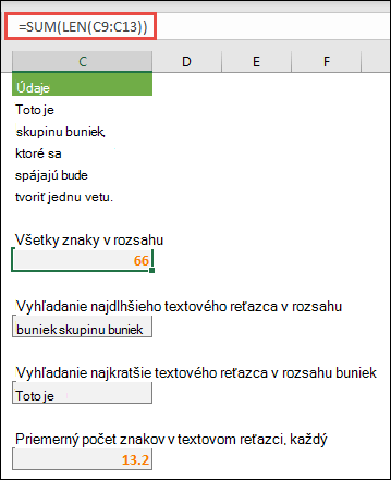 Počítanie celkového počtu znakov v rozsahu a ďalších polí na prácu s textovými reťazcami