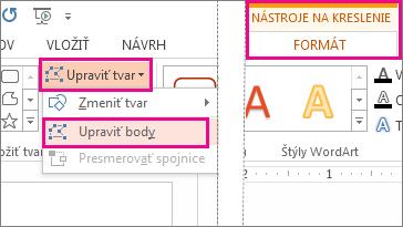 Príkaz Upraviť body prístupný prostredníctvom položky Upraviť na karte Nástroje na kreslenie – Formát