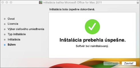 Snímka obrazovky soknom oznamu o úspešnej inštalácii
