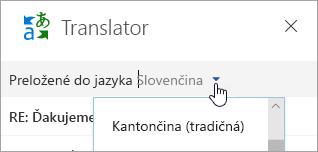 Snímka obrazovky soknom Translatora