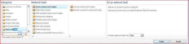 Výber webovej časti sa zobrazuje webovej časti Excel Web Access