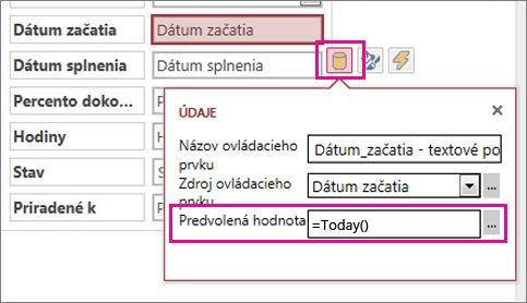 Nastavenie predvolenej hodnoty poľa s dátumom v accessovej aplikácii.