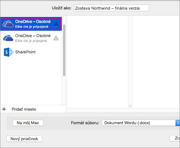 Uloženie dokumentu do OneDrivu alebo iného online umiestnenie, kliknite na položku Online umiestnenia.