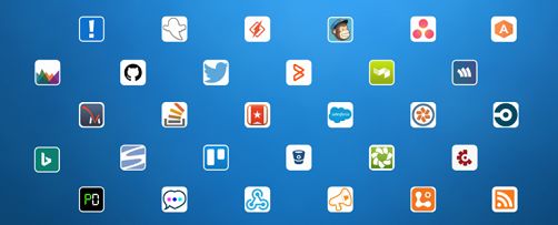 Zobrazené logá zahŕňajú Aha!, AppSignal, Asana, Bing News, BitBucket, Bugsnag, CircleCI, Codeship, Crashlytics, Datadog, Dynamics CRM Online, GitHub, GoSquared, Groove, HelpScout, Heroku, Incoming Webhook, JIRA, MailChimp, PagerDuty, Pivotal Tracker, Raygun,