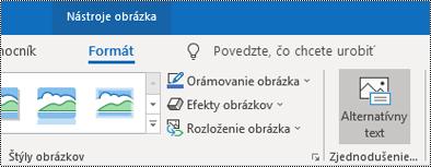 Tlačidlo Alternatívny text na páse s nástrojmi v Outlooku pre Windows