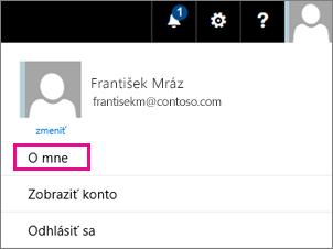 Snímka obrazovky s ponukou používateľské konto v službách Office 365