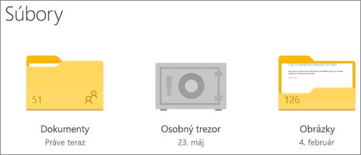 Snímka obrazovky priečinka Osobný trezor vo Onedrive