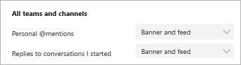 Obrázok nastavení oznámení v aplikácii Teams, v ktorom sa zobrazuje spôsob, ako získať oznámenia v aplikácii teams a ako bannerové oznámenie.
