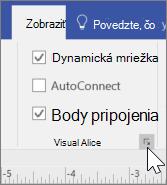 Snímka obrazovky s možnosťami zobrazenia s vybratými dynamickými mriežkami a bodmi pripojenia