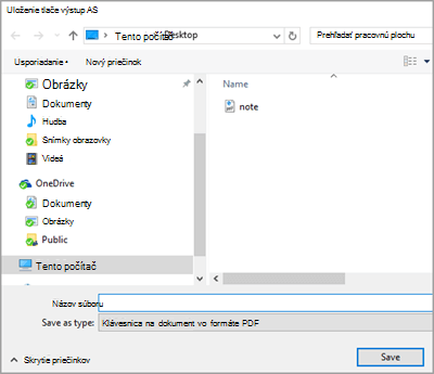 Uložiť PDF súbor