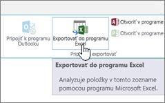 Tlačidlo Exportovať do Excelu zvýraznené na páse s nástrojmi v SharePointe